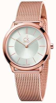 Calvin Klein Il quadrante argentato della maglia della tonalità di oro rosa delle donne K3M22626