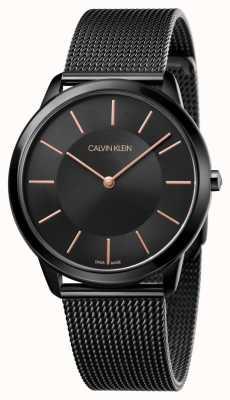 Calvin Klein Orologio da uomo minimal | cinturino a maglie in acciaio inossidabile nero K3M21421