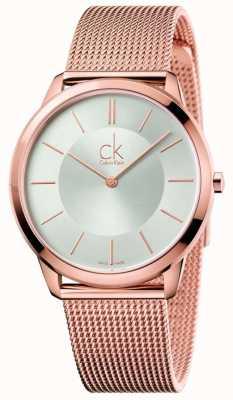 Calvin Klein Orologio da uomo minimal | cinturino in maglia tono oro rosa | quadrante argentato K3M21626