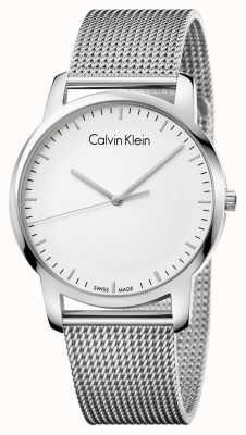 Calvin Klein Quadrante argentato della cinghia in rete in acciaio inox uomo K2G2G126