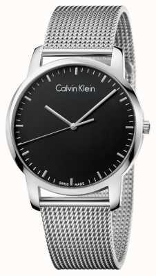 Calvin Klein Quadrante nero della cinghia in rete in acciaio inox uomo K2G2G121