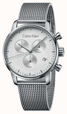 Calvin Klein Quadrante bianco dell'acciaio inossidabile cronografo della città degli uomini K2G27126