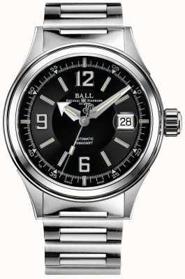 Ball Watch Company Quadrante nero automatico del braccialetto dell'acciaio inossidabile del racer dei vigili del fuoco NM2088C-S2J-BKWH