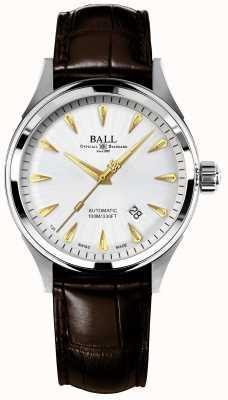 Ball Watch Company Quadrante argentato classico del crocodile del racer del fuoco del fuoco NM2288C-LJ-SL