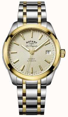Rotary Womens eredità di due toni di selezione automatica oro in acciaio inox LB90166/03