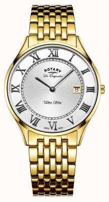 Rotary Mens tono oro ultra sottile quadrante bianco in acciaio inox GB90803/01