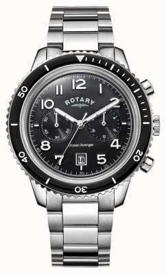 Rotary quadrante nero Mens oceano vendicatore cronografo GB05021/04
