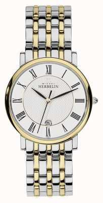 Michel Herbelin Mens due tonalità acciaio inox cinturino in oro argento 12543/BT01