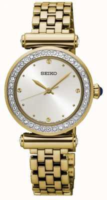 Seiko placcato oro delle donne quadrante bianco in acciaio SRZ468P1