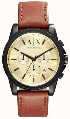 Armani Exchange cronografo cinturino in pelle marrone Mens AX2511