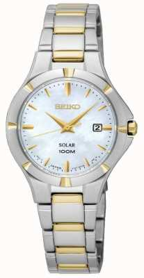 Seiko Womens solare madre di due toni del quadrante in madreperla SUT294P1