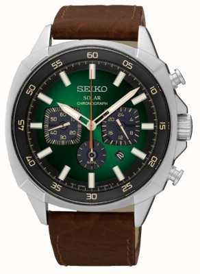 Seiko Mens alimentato cinturino in pelle quadrante verde riflettente solare SSC513P9