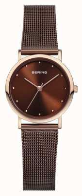 Bering acciaio inox cinturino maglia marrone Womans 13426-265