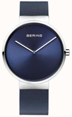 Bering ferro blu unisex in acciaio placcato cinghia maglia di 39 millimetri 14539-307