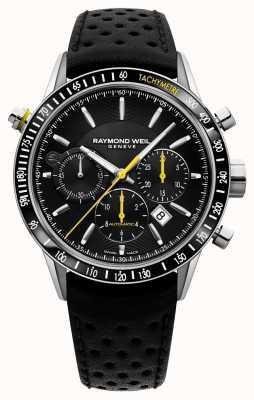 Raymond Weil Mens cronografo automatico nero cinturino in pelle nera 7740-SC1-20021