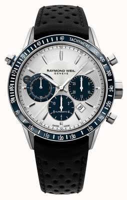 Raymond Weil Mens cronografo automatico bianco cinturino in pelle nera 7740-SC3-65521