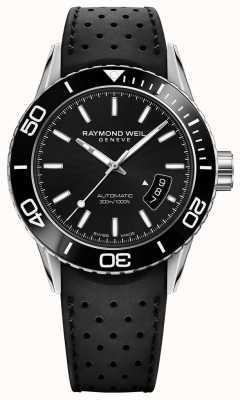 Raymond Weil Mens cinturino in gomma quadrante nero automatica 2760-SR1-20001