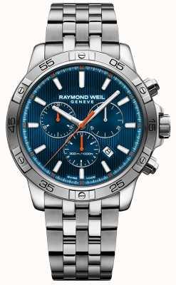 Raymond Weil Mens tango 43mm quadrante blu cronografo in acciaio inossidabile 8560-ST2-50001