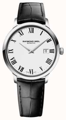 Raymond Weil Mens sottile pelle nera bianca 5488-STC-00300