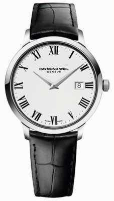 Raymond Weil Cinturino da uomo in pelle nera bianca sottile 5488-STC-00300