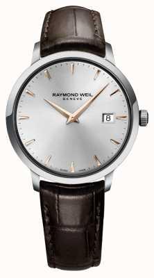 Raymond Weil Cinturino da uomo in pelle marrone argento sottile 5488-SL5-65001