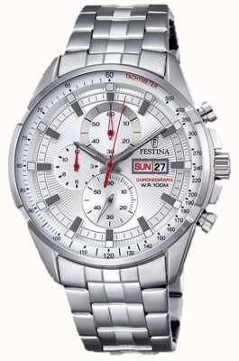Festina quadrante argento braccialetto in acciaio inox Mens del cronografo F6844/1