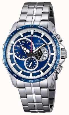 Festina Cronografo Mens bracciale in acciaio quadrante blu F6850/2