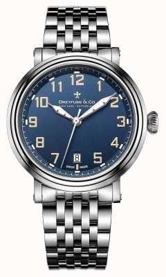 Dreyfuss mens acciaio 1924 bracciale in acciaio quadrante blu DGB00152/52
