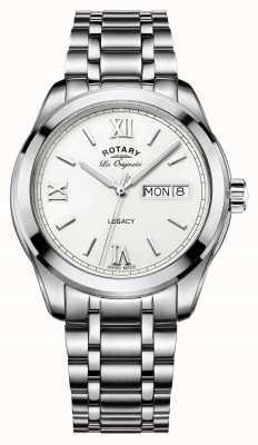 Rotary legacy data di giorno bracciale in acciaio uomini rotativo GB90173/01