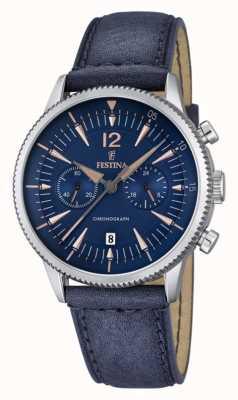 Festina Mens blu chrono, pelle blu F16870/2