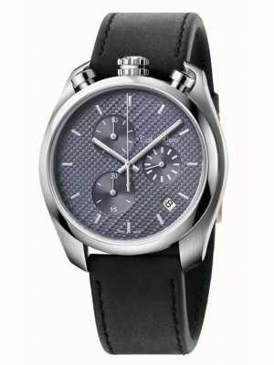 Calvin Klein Controllo del cronografo in pelle nera K6Z371C4