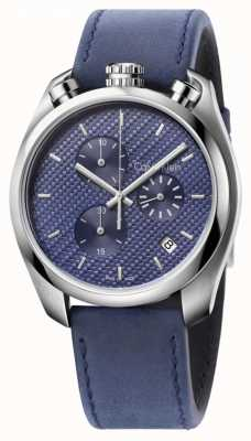 Calvin Klein orologio di controllo Mens pelle blu quadrante blu K6Z371VN