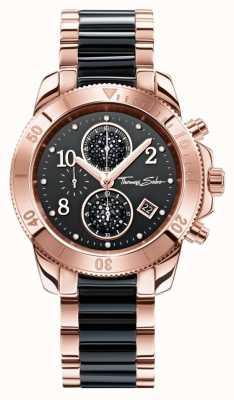 Thomas Sabo Delle donne glam crono nero / oro rosa WA0223-268-203-40