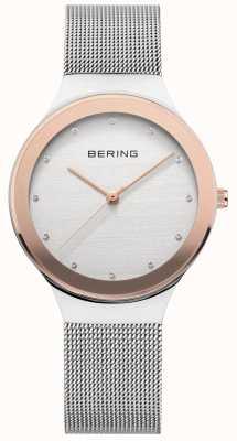Bering Signore | cinturino a maglie in acciaio inossidabile argento | quadrante bianco / oro 12934-060