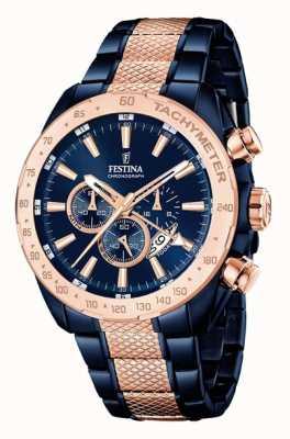 Festina Mens due tonalità blu rosa cronografo in oro F16886/1