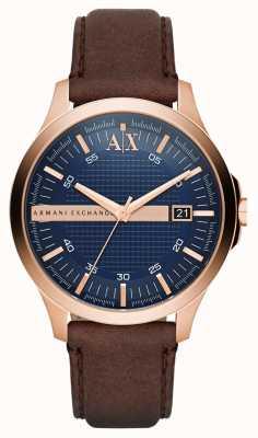 Armani Exchange Mens cinturino in pelle marrone rosa involucro d'oro AX2172