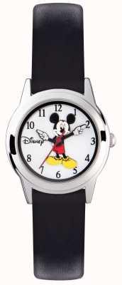 Disney Adult Cinghia nera in argento per il mouse Mickey MK1314