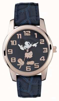 Disney Adult Cinturino blu cassa in oro rosa del mouse Mickey MK1456