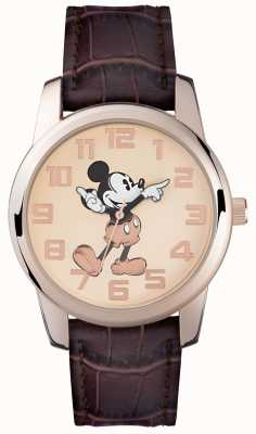 Disney Adult Cinturino marrone cassa in oro rosa del mouse Mickey MK1459