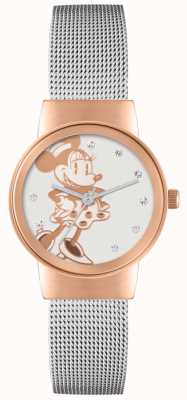 Disney Adult Cinturino in maglia d'argento della cassa in oro rosa di Minnie MN1312