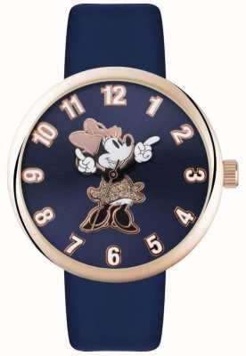 Disney Adult Cinturino blu cassa in oro rosa del mouse Minnie MN1471