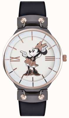 Disney Adult Cinghia nera cassa in oro rosa del mouse di Minnie MN1564