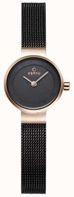 Obaku Womans maglia nera e orologio in metallo oro V199LXVNMN