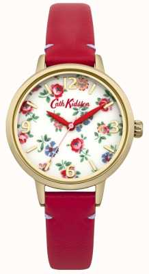 Cath Kidston Donne in pelle rossa orologio biancheria rametto CKL006RG