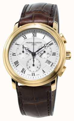 Frederique Constant Mens classico cronografo cinturino in pelle marrone FC-292MC4P5