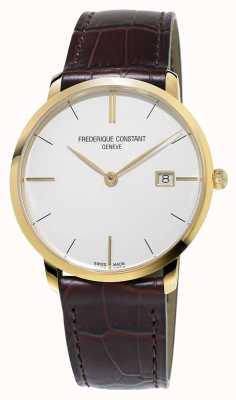 Frederique Constant Mens linea sottile cinturino in pelle marrone FC-220V5S5