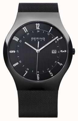 Bering Cinturino in maglia nera milanese da uomo 14640-222