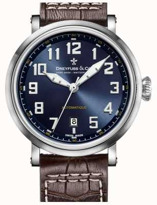 Dreyfuss Mens automatique cinturino in pelle marrone quadrante blu DGS00153/52