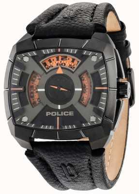 Police Mens g forza cinturino in pelle nera quadrante nero 14796JSU/02
