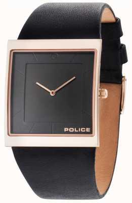 Police Quadrante nero in cinturino in pelle nera skyline uomo 14694MSR/02